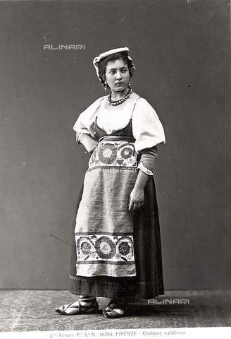Portrait of a woman wearing traditional costume from Calabria