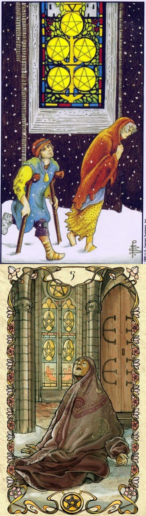 Five of Pentacles: but help is available and seeing chances you can use (reverse). Universal Tarot deck and Mucha Tarot deck: horoscope tarot cards, tarot for dummies and tarot cards gratis. The best tarot bag pattern and lenormand cards. #empress #tower #magician #unicorn #death #devil