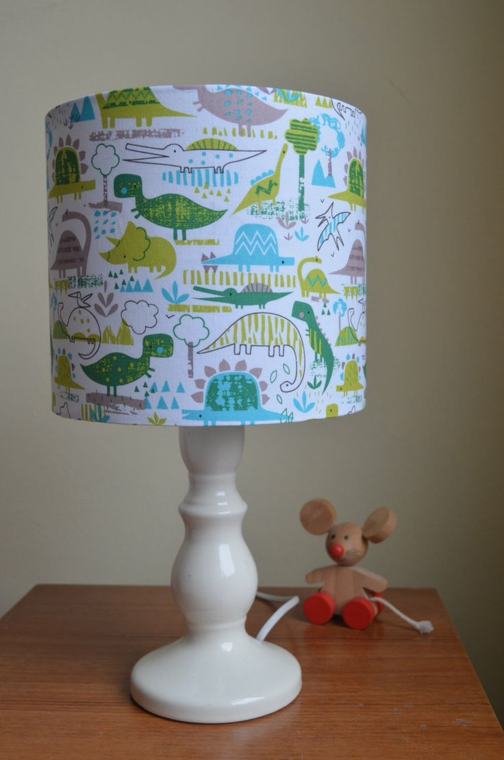 Dinosaur Lampshade, Children's lampshade, Nursery lampshade, Nursery Lighting, Green Lamp Shade, Dinosaur Lamp shade, Kids lampshade. by ShadowbrightLamps on Etsy https://www.etsy.com/listing/231670714/dinosaur-lampshade-childrens-lampshade