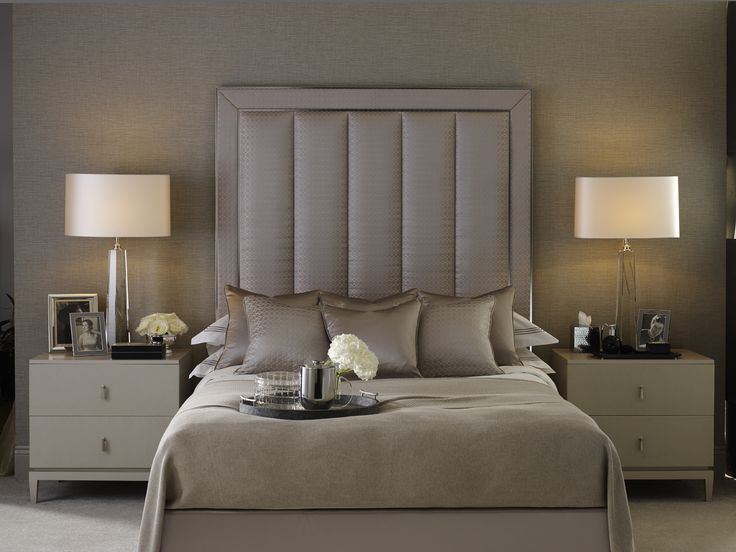 soft shimmering oyster and ivory palette | high padded, upholstered headboard |