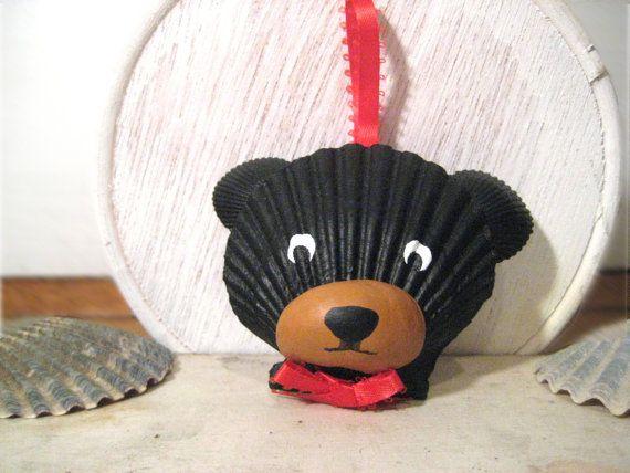 Black Bear Ornament. Hand painted seashell black bear ornament. Beach, nautical, Cape Cod bear art. via Etsy