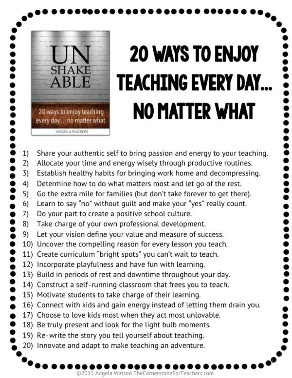 "FREE download: 20 ways to enjoy teaching every day no matter what. From the book ""Unshakeable"""