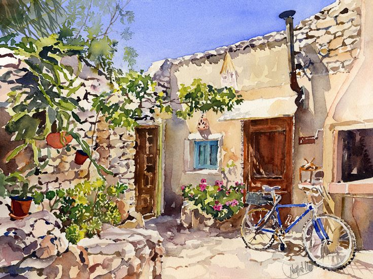 A corner of apatio of the converted old mill of Bornos above the village of Las Negras near my home. A lovely subject to paint with manydifferent tectures, the stone walls, metal bike and chimney…