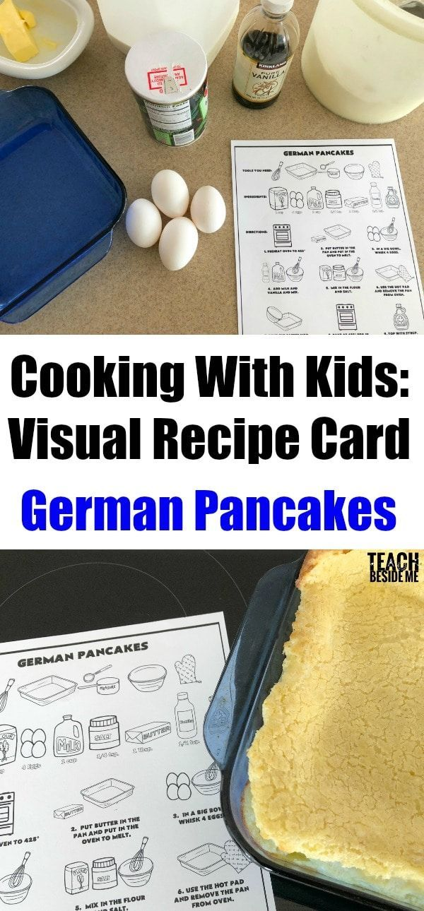 Kids Cooking Lesson: How to Make German Pancakes with a visual recipe for young kids to learn! Also includes a video lesson for kids to watch and learn from.  via @karyntripp