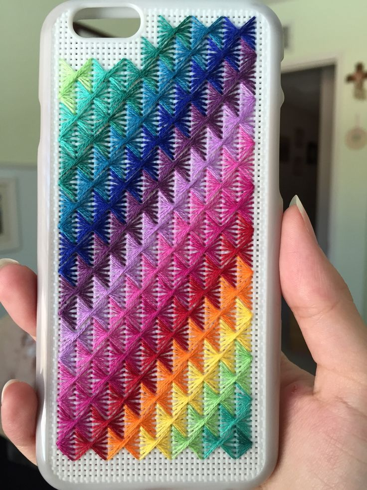 Phone case covered with week 17's stitch from badasscrossstitch!