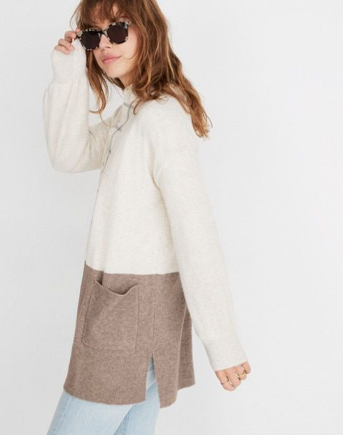 b86953d8879 Kent Colorblock Cardigan Sweater in Coziest Yarn in bright ivory image 2