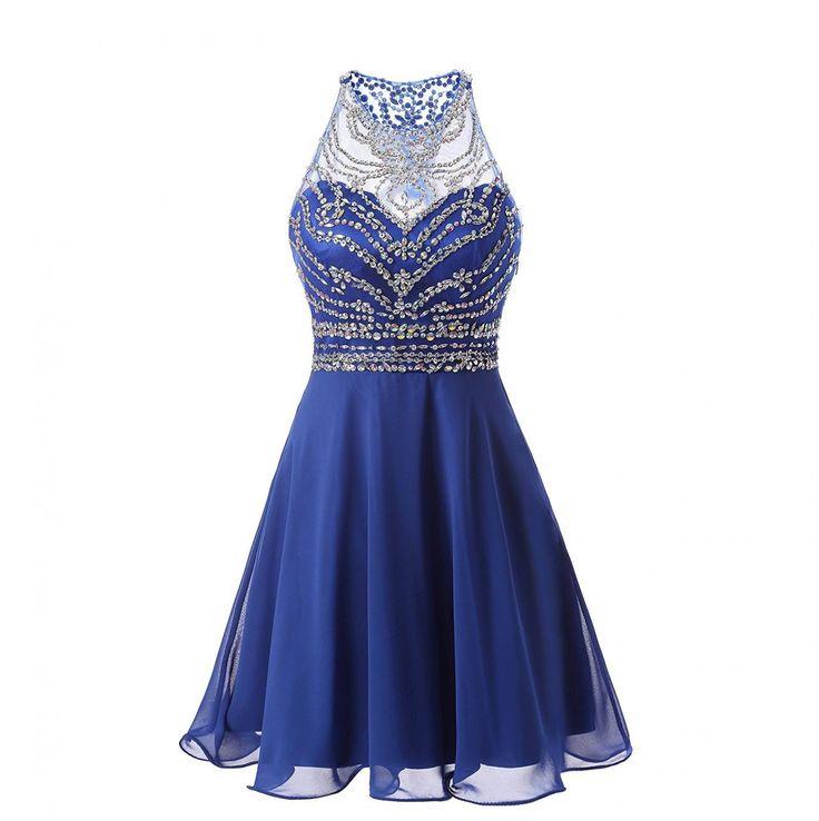 Homecoming Dress,Short Homecoming Dresses,Royal Blue Homecoming Dresses,Chiffon Bridesmaid