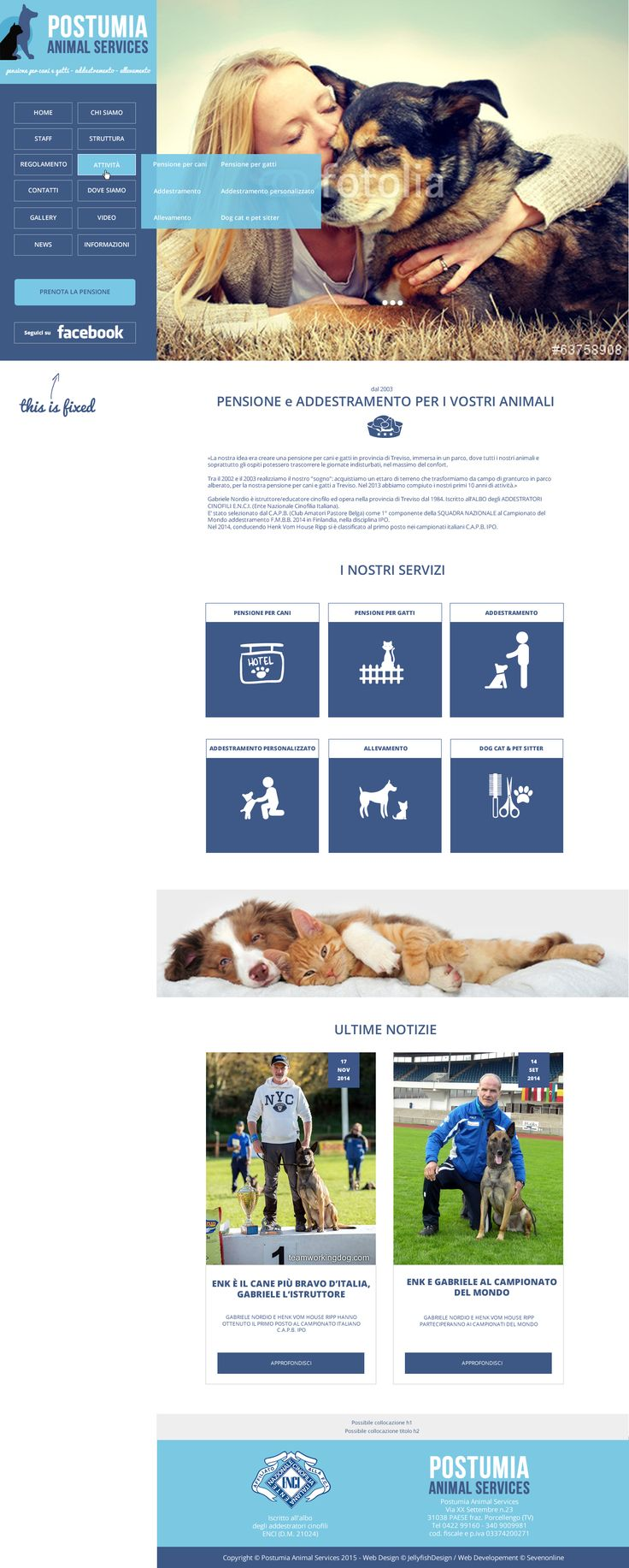 Postumia Animal Services - Pensione per cani, addestramento, allevamento pastore tedesco e pastore belga Malinois.  Bozza grafica per restyling vecchio sito.  Novembre 2014. By Jellyfish Design. www.jellyfishdesign.it