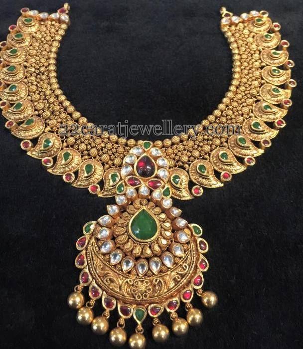Jewellery Designs: Heavy Antique Mango Necklace