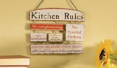Kitchen Humor Kitchen Rules Wood with Chains No Complaining