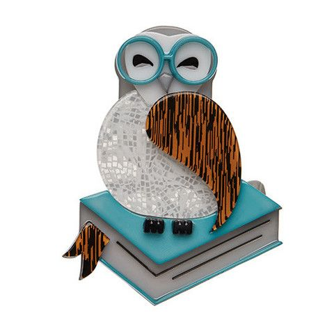 """Erstwilder Limited Edition Studious Snow Owl Brooch. """"No time for sleep - not with so many amazing books to read. Ex libris..."""""""