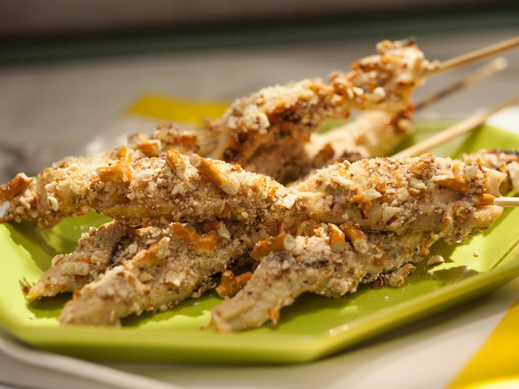 As seen on The Kitchen: Pretzel-Crusted Chicken Skewers: Food Network, Katy Lee, Foodnetwork Com, Chicken Skewers, Chicken Fingers, Skewers Recipe, Katie Lee, Pretzels Crusts Chicken, Pretzel Crusted Chicken