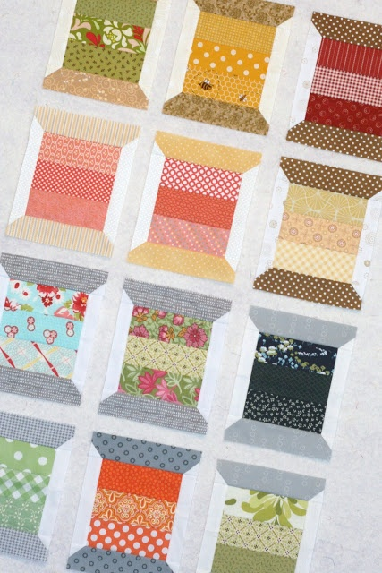 Spool Quilt. Pattern here: http://thimbleblossoms.bigcartel.com/product/spools-patttern-154-pdf-pattern  Would be cute on a sewing bag