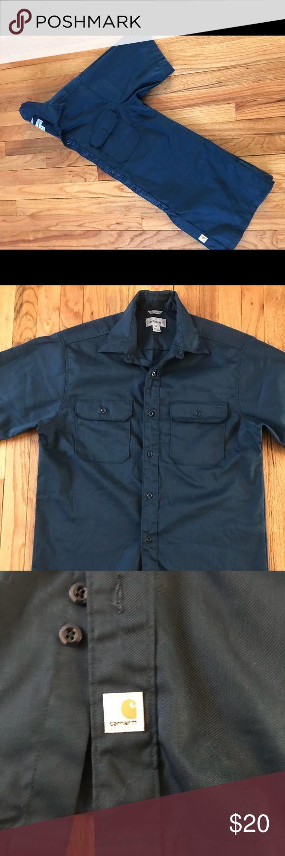 Carhartt M Short Slve Button Down Blue Work Shirt Carhartt M Short Slve Button Down Blue Work Shirt Carhartt Shirts Casual Button Down Shirts