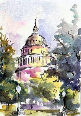 LAURA CLIMENT :  Washsington. Capitol. (Watercolor)
