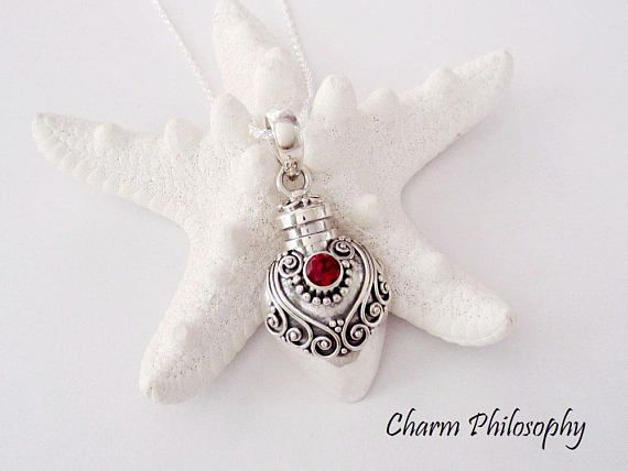 Garnet and sterling silver cremation necklace by Charm Philosophy on Etsy.