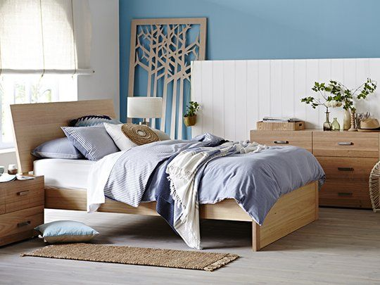 My Design Bed Frame (inclined headboard & full panel base): Queen Bed Frame