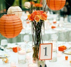 Orange and white themed wedding table decor