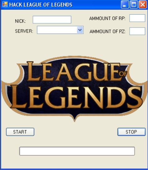 Welcome League of Legends's players! The most of you are propably   looking for good hack to LOL(League of Legends),  and what is the most important, working! Always wanted to have all skins and champions? The right place!  What HACK can do?   add any amount of  mushrooms  add any amount of golds If u are intresting in, click: leagueoflegendsshack.wordpress.com