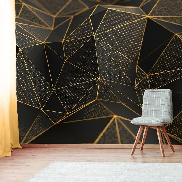 Geometric Wallpaper With Gold And Black Shapes Self Adhesive Peel And Stick Floral Wall Mural Wall Paint Designs Gold Geometric Wallpaper Geometric Wall Paint