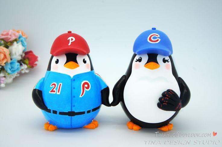 Baseball Wedding Cake Topper-Phillies And Cincinnati Reds Penguin Love Bird Wedding Cake Toppers Sports Theme