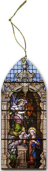 Annunciation Stained Glass Wood Ornament - Catholic to the Max - Online Catholic Store