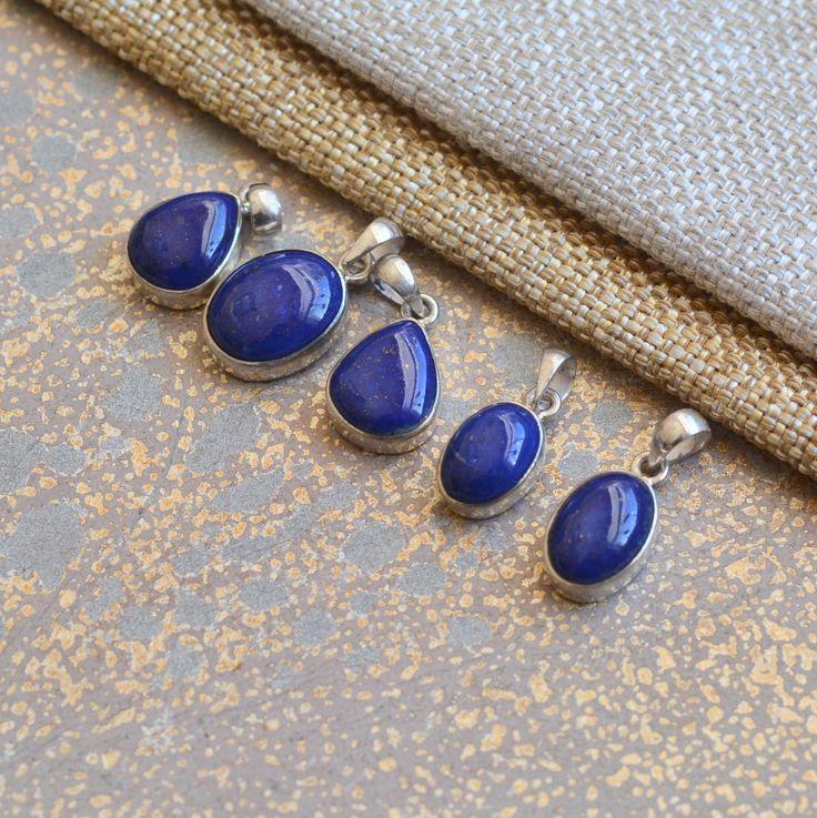Small Lapis Lazuli Sterling Silver Pendants, Lapis Pendants, Nepal Lapis Pendants,Dark Blue Lapis Lazuli Charms,Lapis Charms,One, BID1701212 by WanderlustWorldArts on Etsy