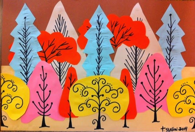 The Lost Sock : Construction Paper Trees