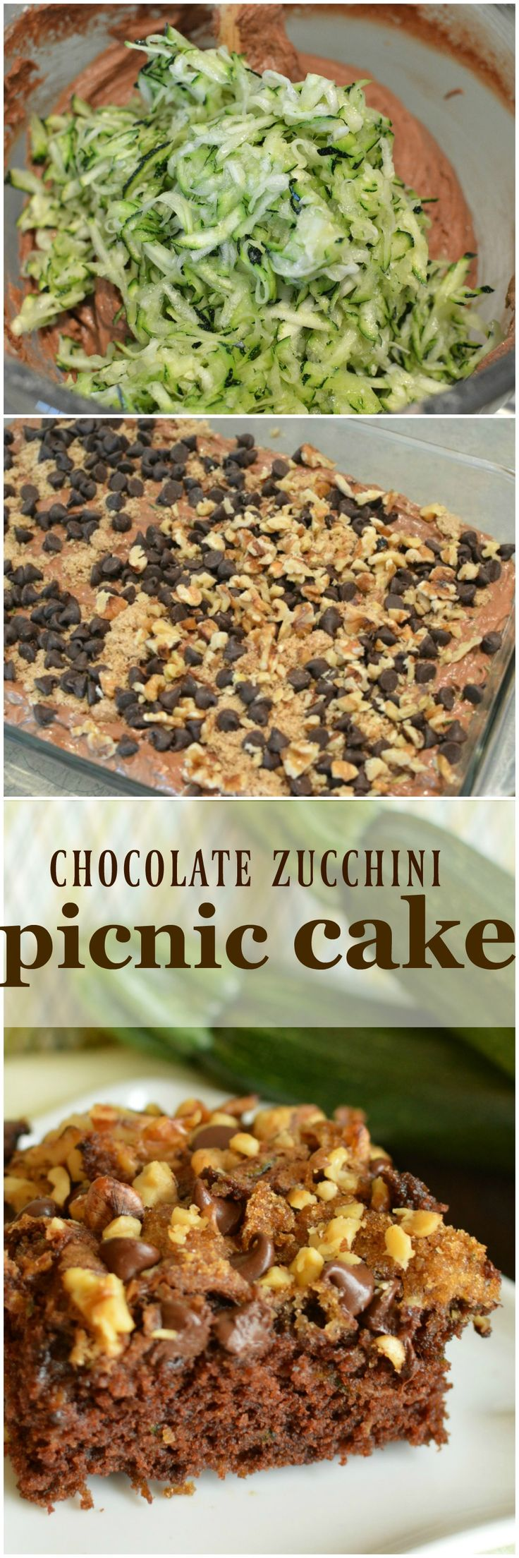 Chocolate Zucchini Picnic Cake is a super moist cake topped with chocolate chips, brown sugar, and walnuts! Heavenly!  Little Dairy on the Prairie