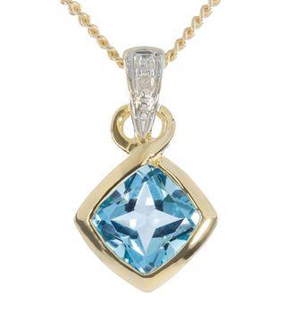 9ct Yellow Gold Bezel Set Blue Topaz  Diamond Pendant, only $158 - purejewels.com.au