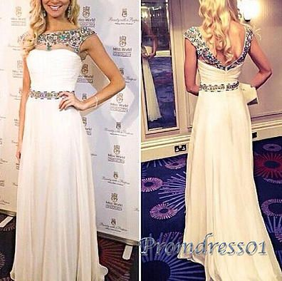Modest prom dress, ball gown, 2016 elegant white chiffon long evening dress for teens #coniefox #2016prom