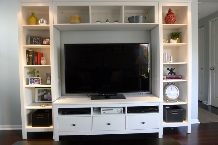 Show me your tv wall page 5 small bookcase hemnes for Small bedroom bookcase