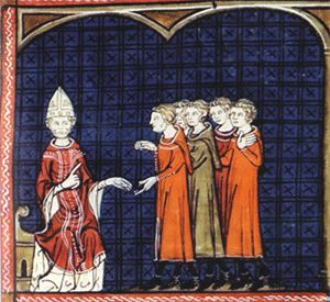 Pope Innocent III excommunicates a group of Cathars. From the fourteenth century, Chronique de France (Chronique de St Denis), British Library, Royal 16, g VI f374v.