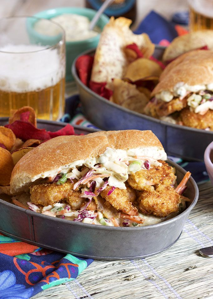 Ready in just 30 minutes, this easy to make Cornmeal Crusted Shrimp Po'Boy recipe is perfect for busy weeknights and not lacking in the flavor department!   @suburbansoapbox