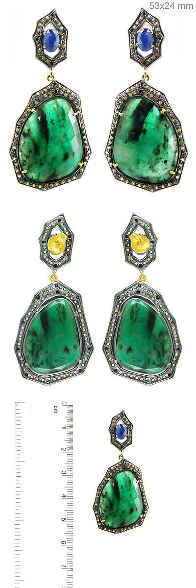 Earrings 52599: Blue/Yellow Sapphire Pave Diamond Silver Vintage Dangle Earrings Gold Jewelry BUY IT NOW ONLY: $999.0
