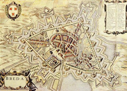 Een van de oudste stadsplattegronden van Breda daterend uit het midden van de 17de eeuw. Op deze vogelvlucht kaart zijn ook de vestingwerken goed te zien. Merkwaardig is dat alle kerken, ook die van het klooster Sint Catharinadal en de Waalse kerk, voorzien zijn van torens. Het is zeker dat beide er nooit een hebben gehad. Onderaan links van het midden is het Kasteel te zien.