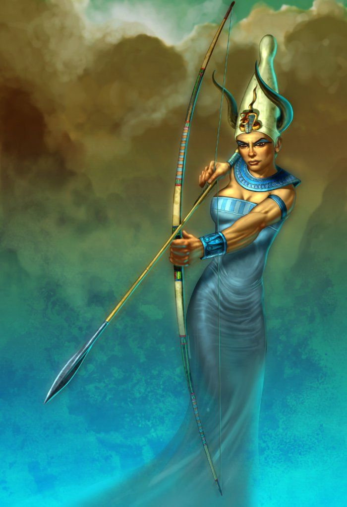 Satet or Satis -- Goddess of the hunt and mistress the star Sirius, worshipped alongside Khnum, the ram-headed god of life in South Egypt.