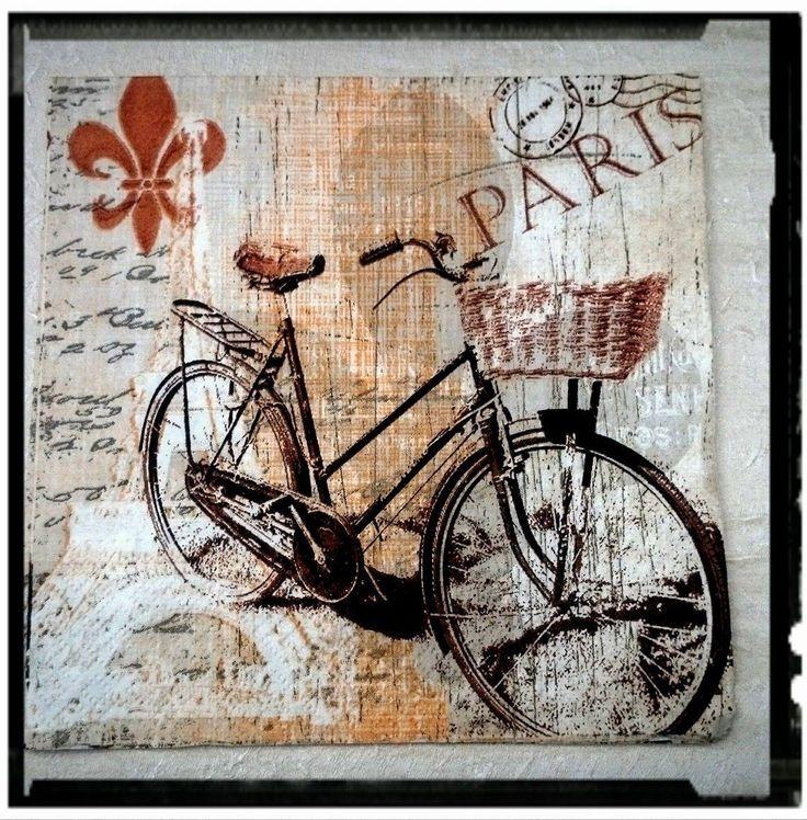 1 Single Decoupage paper Napkins,Bike, Bicykle,Paris,Tissue Paper Napkins for Decoupage,Mix Media,party napkins,Serviettes,Arts paper ,Craft by MagdalenaMagic on Etsy