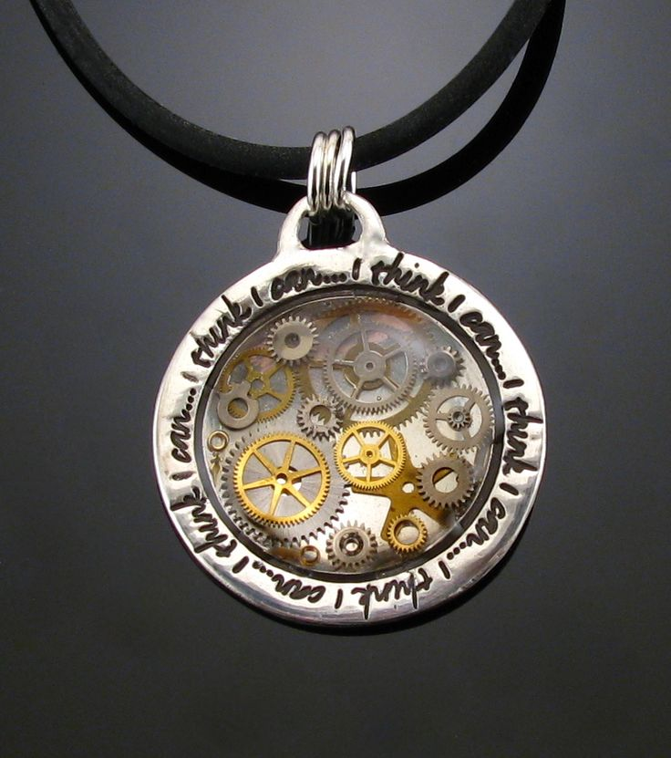"""Layered vintage watch parts and resin (UV resin) over .999 Fine Silver (Art Clay Silver) pendant made using Lisa Pavelka Magic Glos and """"Framed"""" texture stamp (http://lispavelka.com)"""