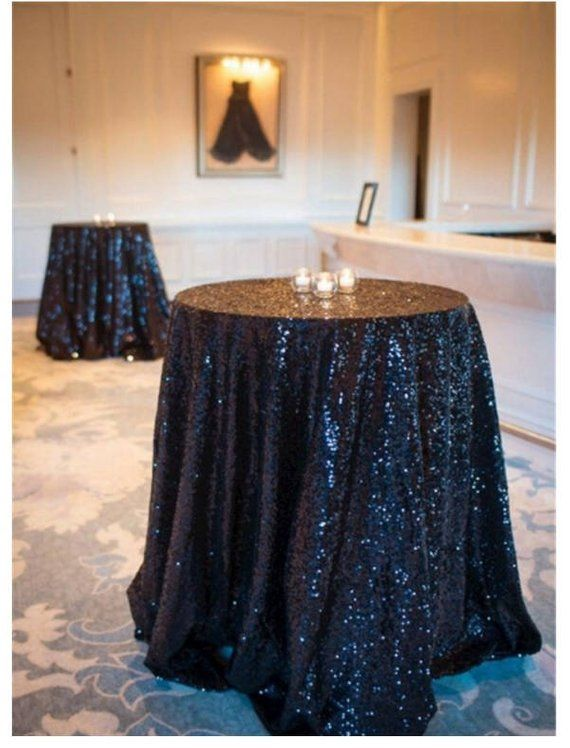 Black Sequin Wedding Tablecloth 72 Inch Round Polyester Sequin