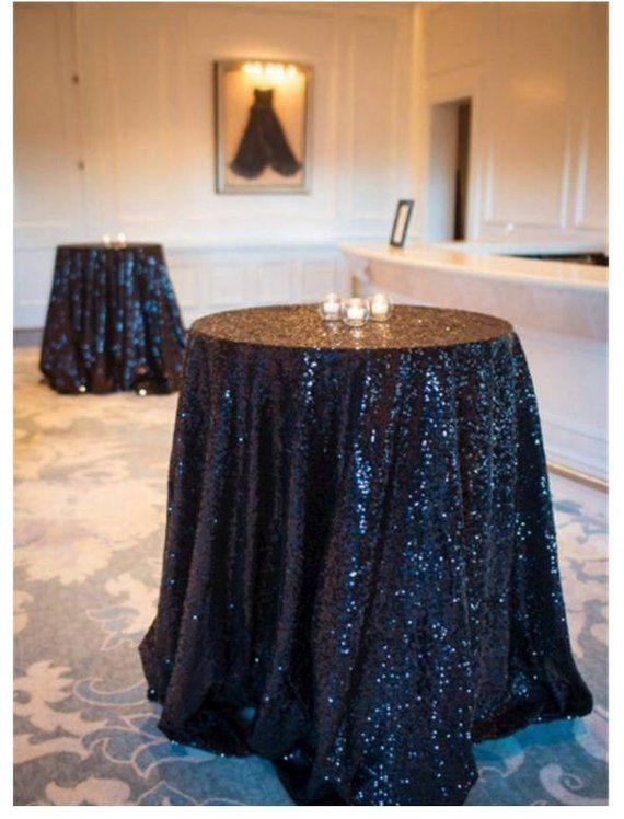 108 Black Premium Sequin Round Tablecloth Round Tablecloth