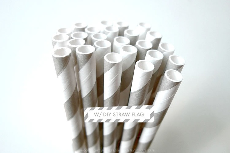 50 GREY Paper Straws (FIFTY -- Shade 2) Wedding Straws w/ DIY Straw Flag Pdf Birthday Wedding Party Decorations. $8,00, via Etsy.