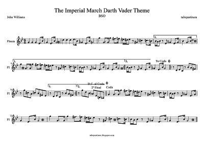 Marcha Imperial de John Williams partitura para Flauta Música de la Banda Sonora de La Guerra de las Galaxias Tema de Darth Vader