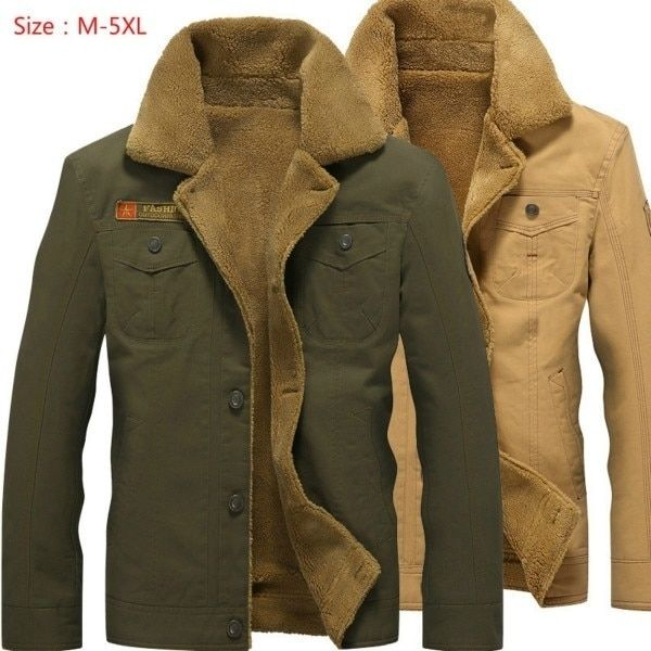 Mens Coat Army Pilot Tactical Warm Fur Fleece Jackets Winter Plus Size Bomber