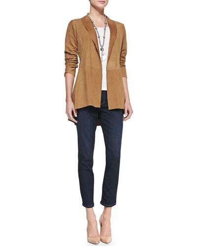 -58WG Eileen Fisher Soft Suede Long Jacket, Long Slim Camisole & Slim Stretch Ankle Jeans, Women's
