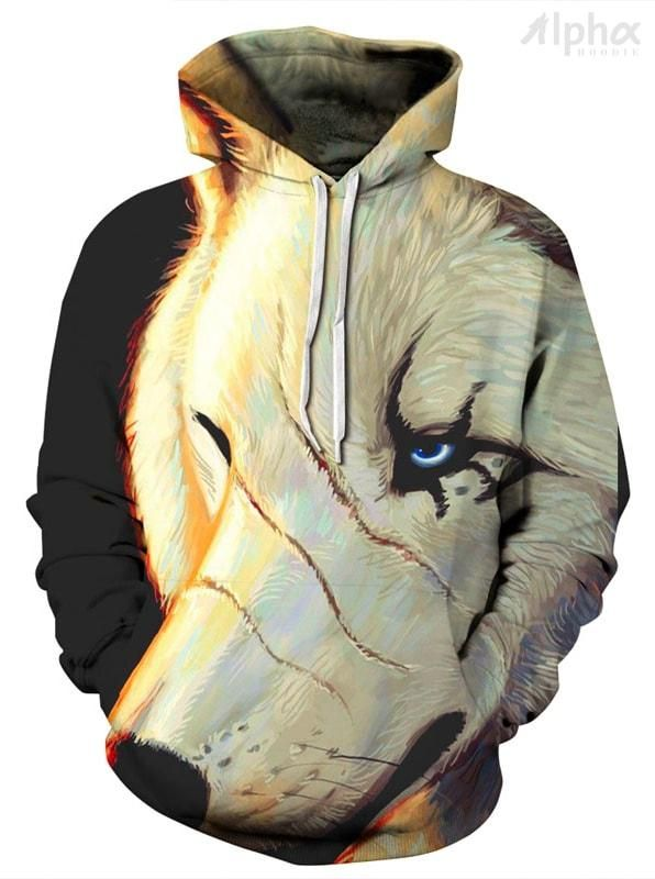 bce09cbff38f Scarred Wolf Unisex Hoodie - Shop 3D Graphic All Over Print Hoodies for Men  and Women. Our Cool Hoodies Include Space Hoodies