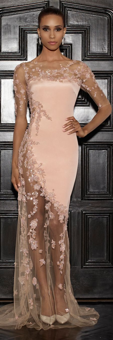 An absolutely stunning gown. I love pink, and this pink with all of the lace…