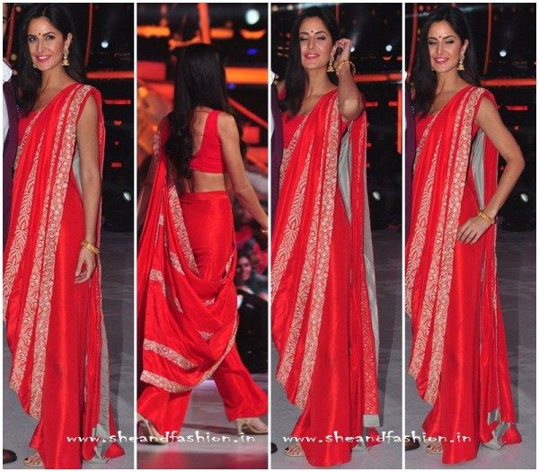 Katrina Kaif In Anamika Khanna Saree for Bar Bar Dekho promotion at Jhalak…