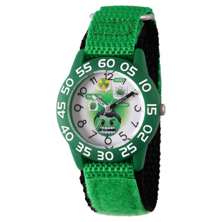 Boys' Marvel Emoji Hulk Plastic Time Teacher Watch - Green