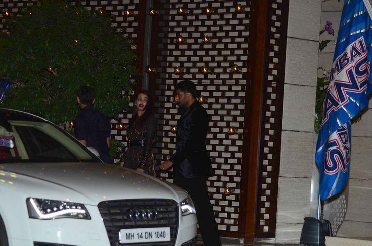 Abhishek Bachchan and #AishwaryaRaiBachchan snapped at Mumbai Indians IPL win bash at Ambani Residence.  #Jazbaa #AishwaryaRai